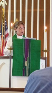 Pastor Melissa at podium Aug 30 1
